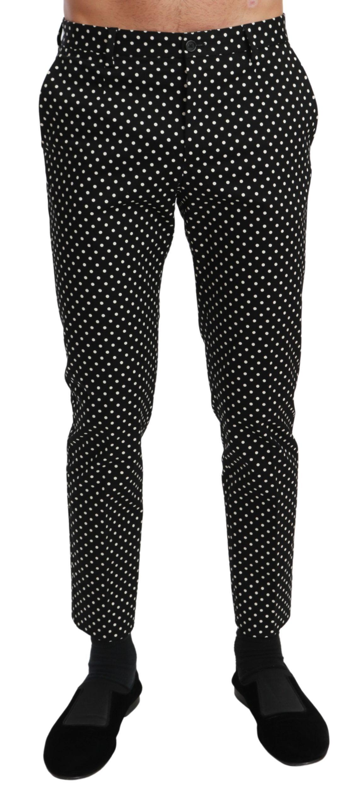 Dolce & Gabbana Men's Polka Dots Casual Trouser Black PAN71020 - IT44   XS