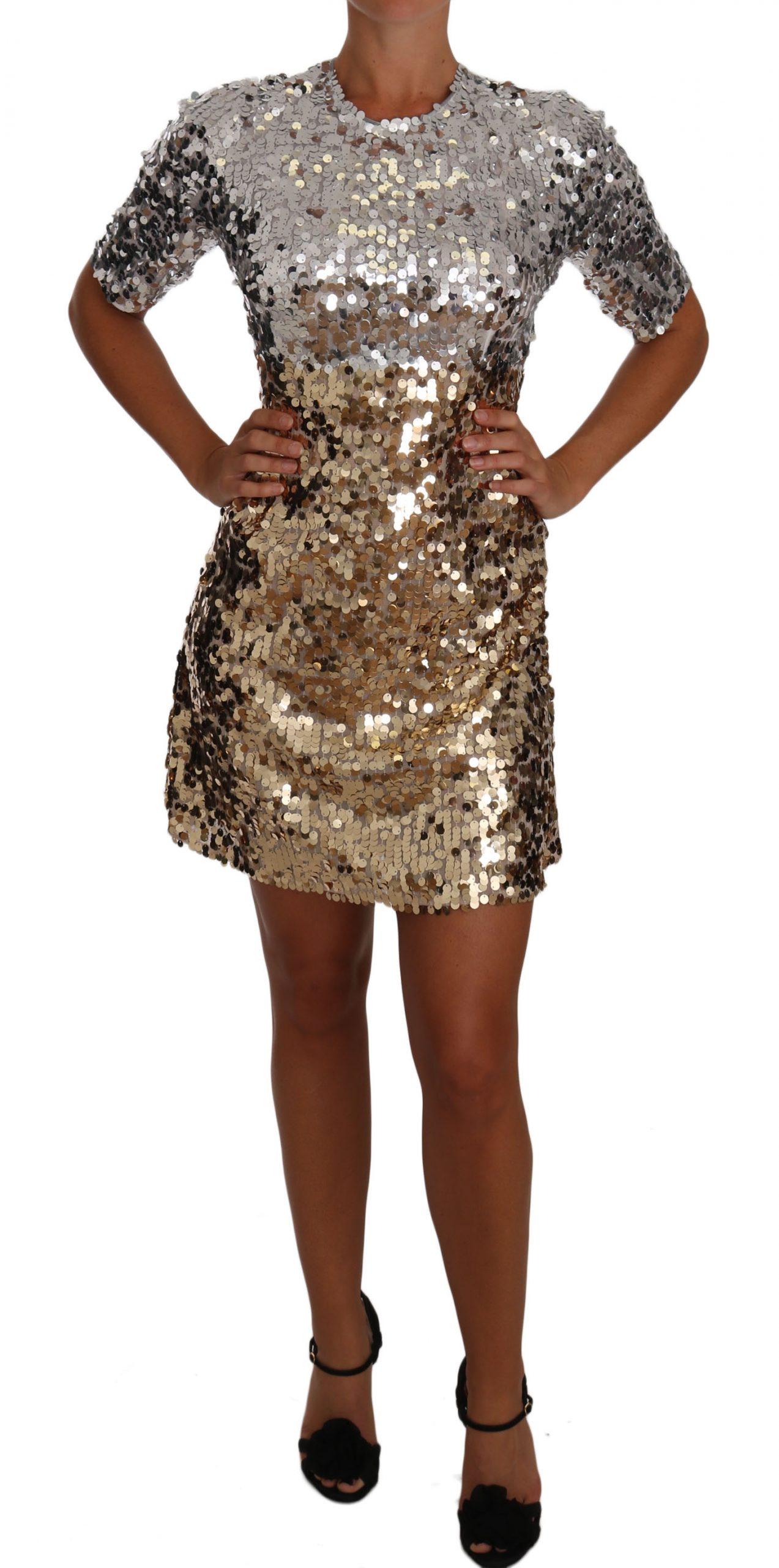 Dolce & Gabbana Women's Sequined Sheath Gown Mini Dress Gold DR1476 - IT44|L
