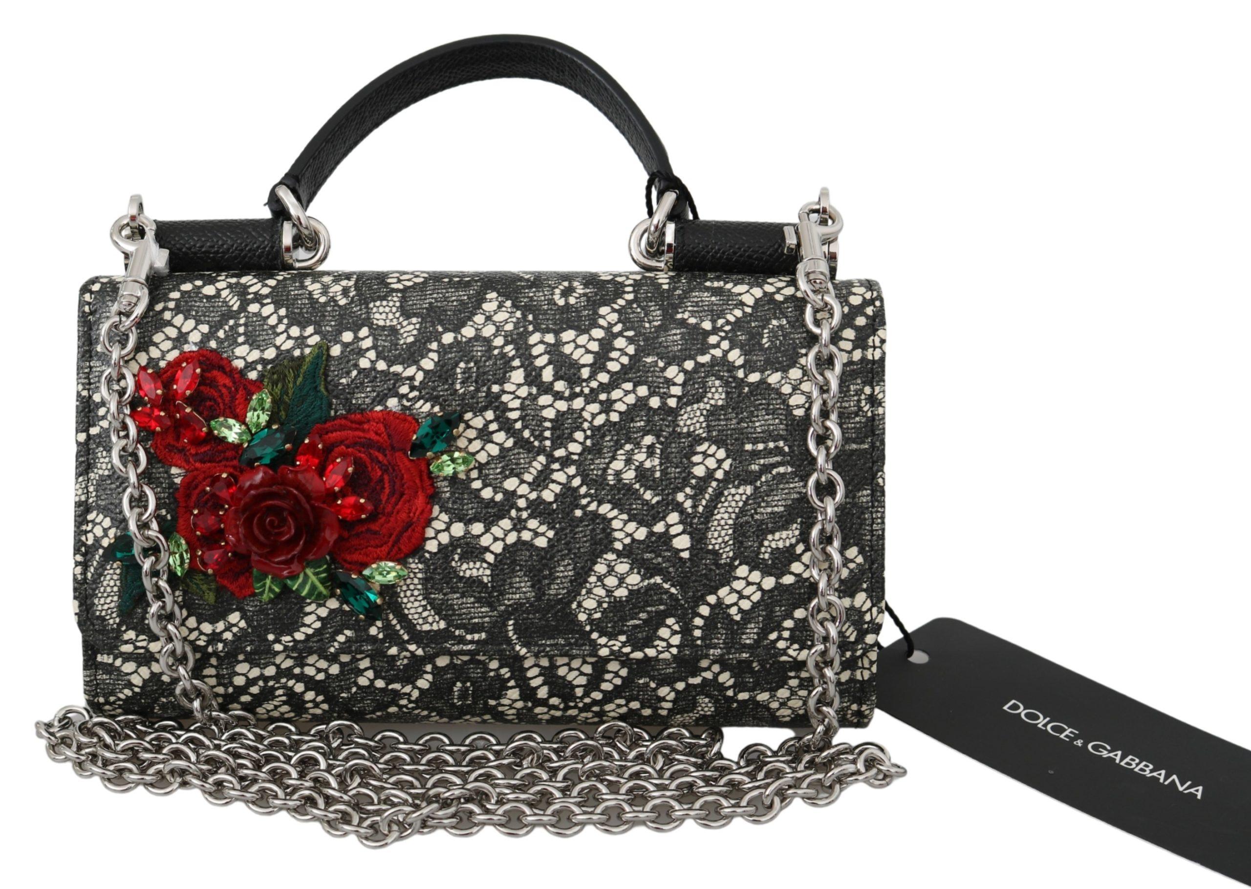 Dolce & Gabbana Women's Leather Crystal Roses Shoulder Bag Black VAS9930