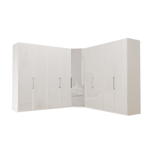 Garderobe Atlanta - Hvit 200 + hjørne + 200, 216 cm, Hvitt glass