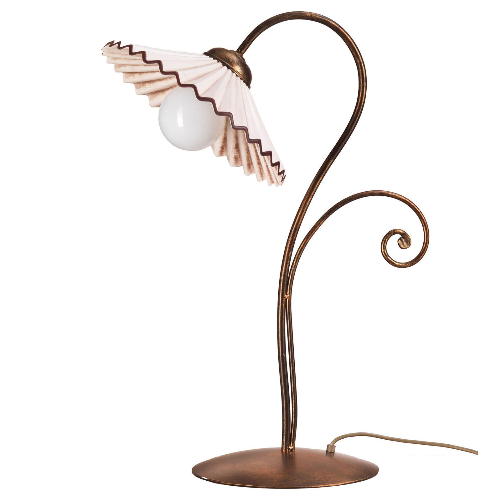 Pöytälamppu Rosina pronssisena keramiikkavarjostin