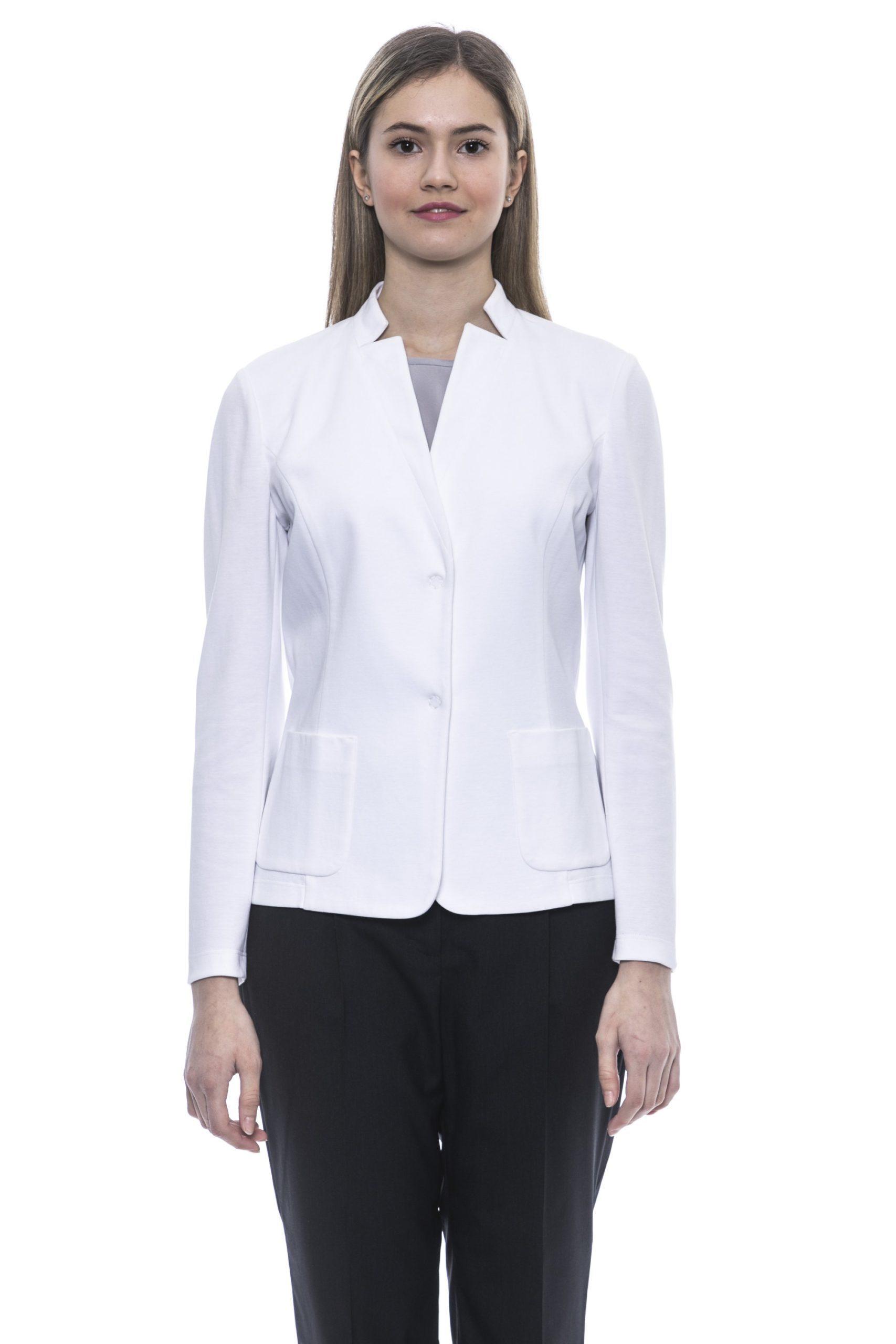 Peserico Women's Bianco Blazer White PE1383331 - IT42 | S