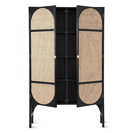 Retro Webbing Cabinet Black m shelves