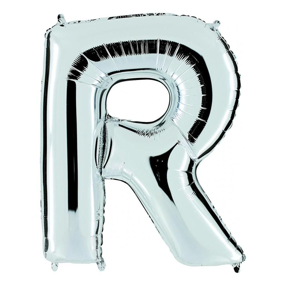 Bokstavsballong Silver - Bokstav R