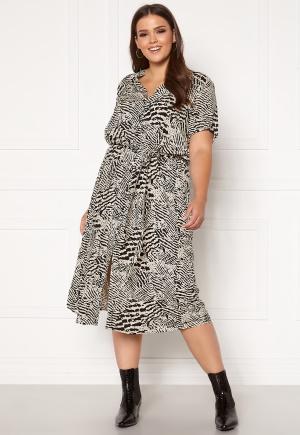 Only Carmakoma Tukzu SS Calf Shirt Dress Ecru, AOP Leoness 48
