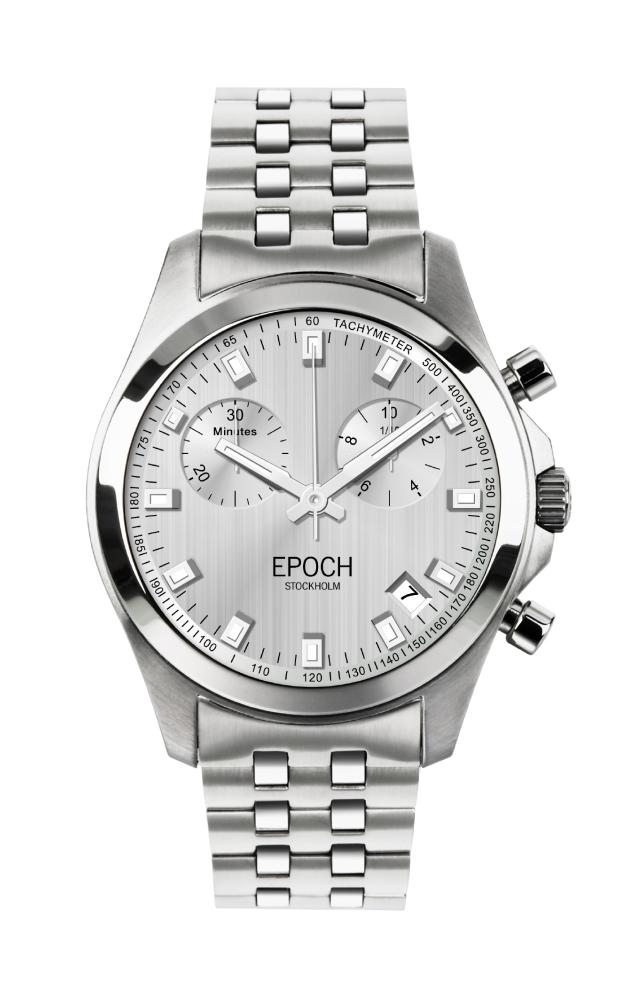 Herrklocka EPOCH President Chronograph Brushed Silver EP3301