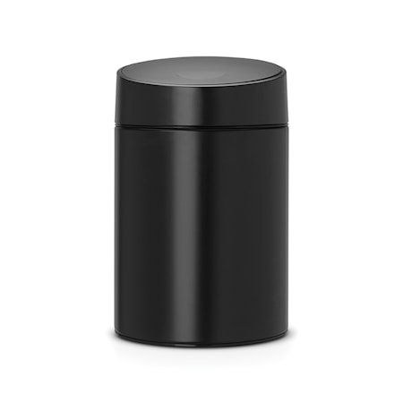 Slide Bin med svart plastlokk, plastinnerbøtte (går å montere på vegg) 5 L Pure Black