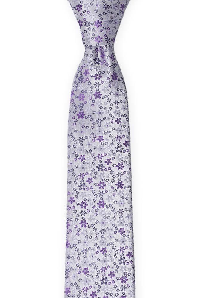 Silke Smale Slips, Støvlilla med små blomster i to lillatoner