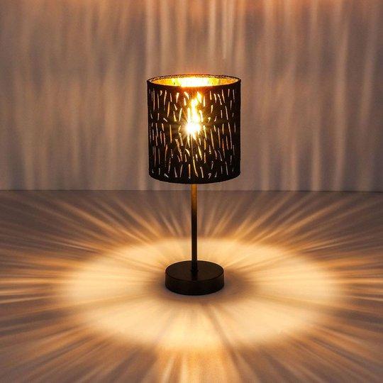 Bordlampe Tuxon med svart, gyllen skjerm