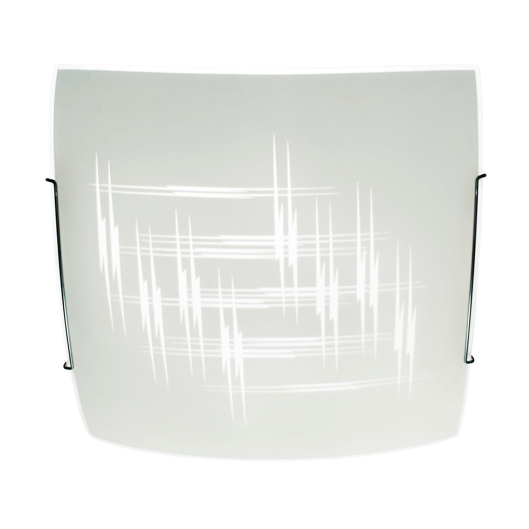 Taklampe Scratch av glass, 40x40cm