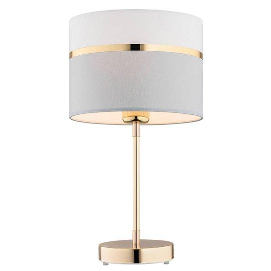Tekstil-bordlampe Long, hvit/grå/messing
