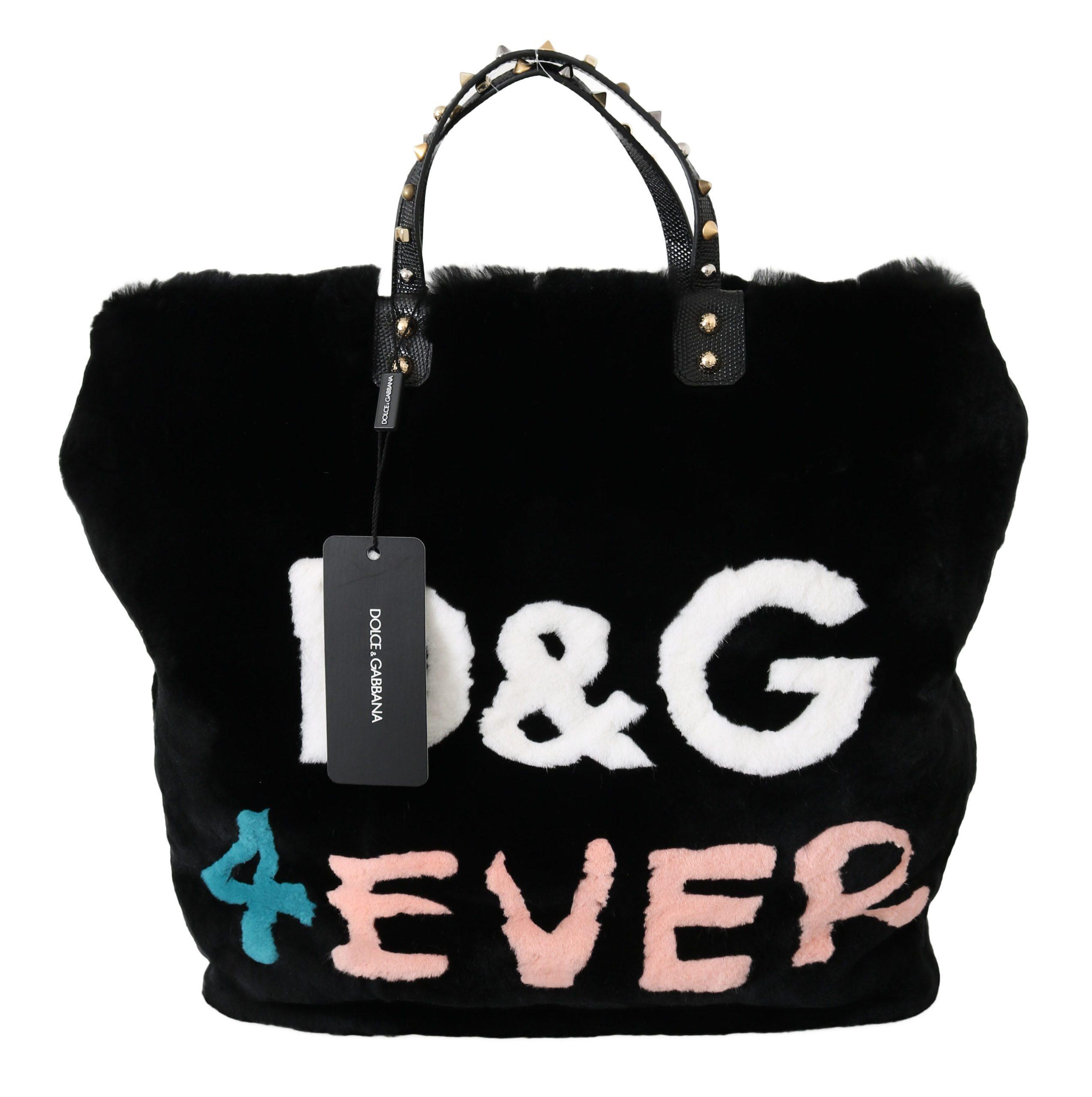 Dolce & Gabbana Women's Inlays Sling Fur Handbag Black VAS8793