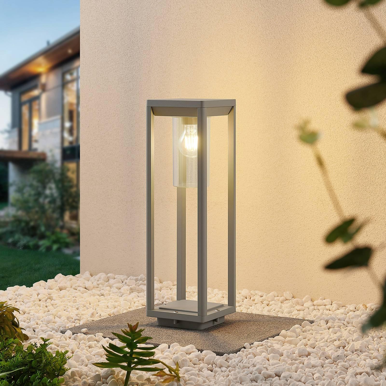 Lindby Estami -pollarilamppu, 50 cm, hopeanharmaa