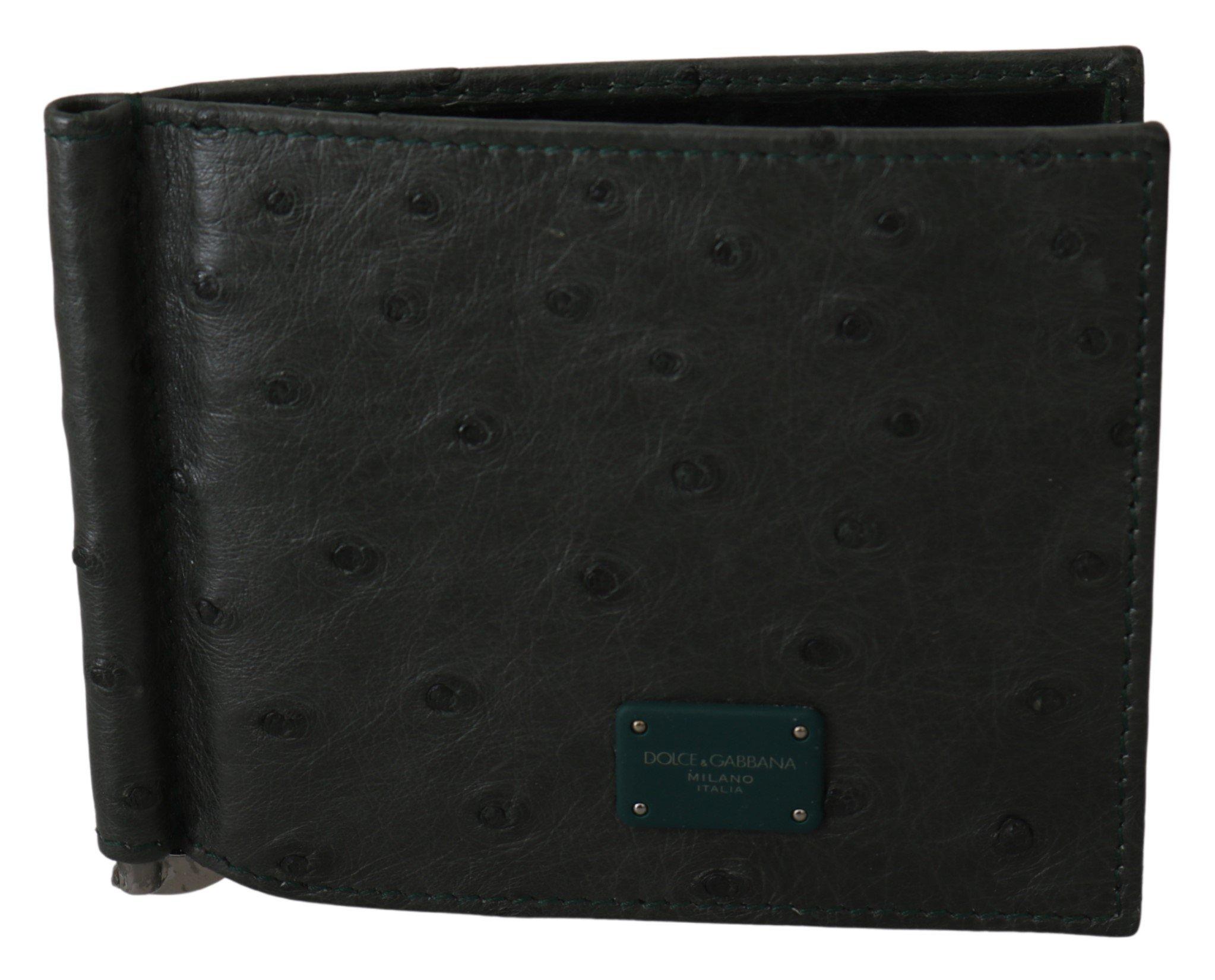 Dolce & Gabbana Men's Ostrich Leather Bifold Wallet Green VAS9691