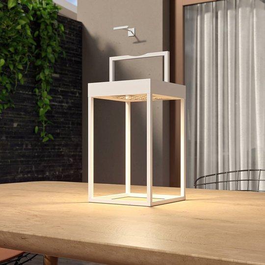 Lucande Lynzy LED-solcellelampe, hvit, 38,3 cm