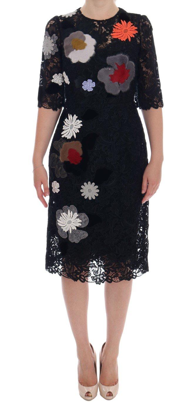 Dolce & Gabbana Women's Floral Lace Floral Sicily Dress Black DR1035 - IT38|XS