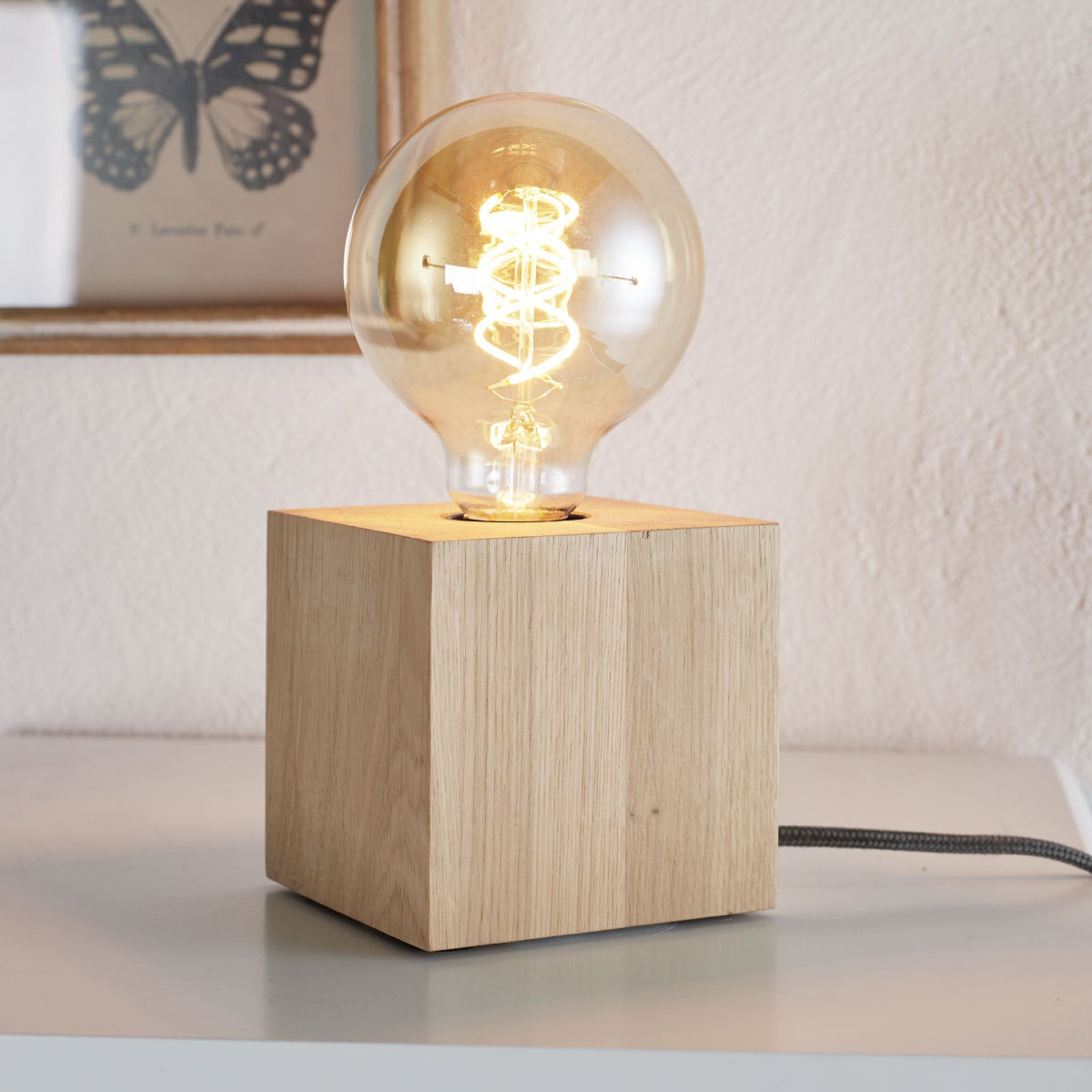 Terningformet bordlampe Trongo, ledning antrasitt