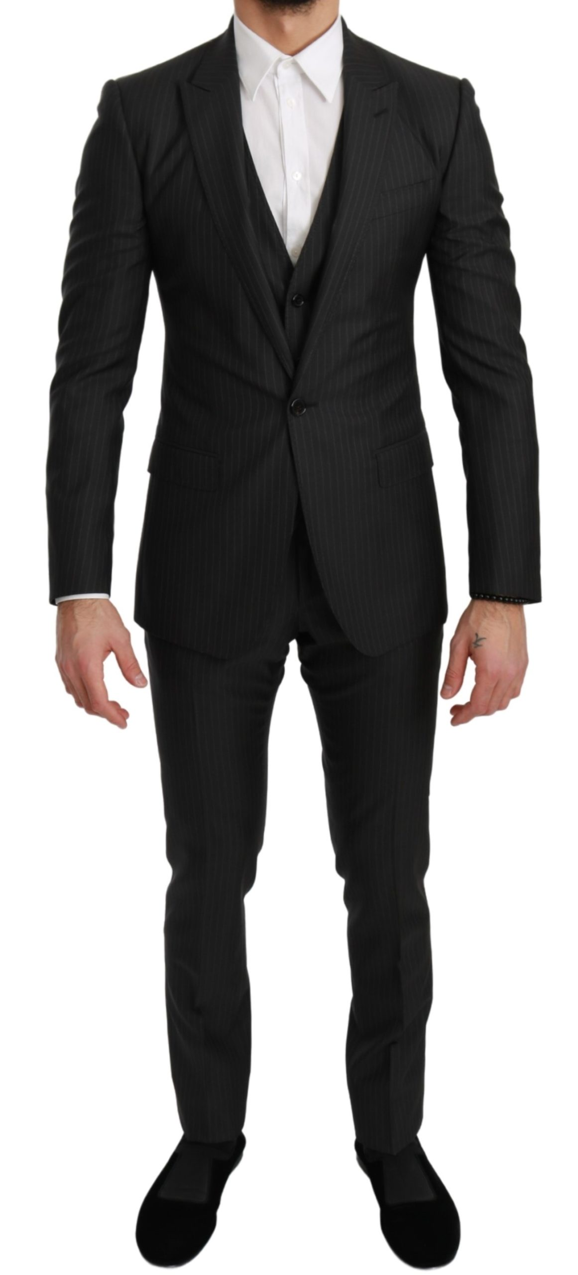 Dolce & Gabbana Men's Striped Slim 3 Wool MARTINI Suit Gray KOS1728 - IT44 | XS