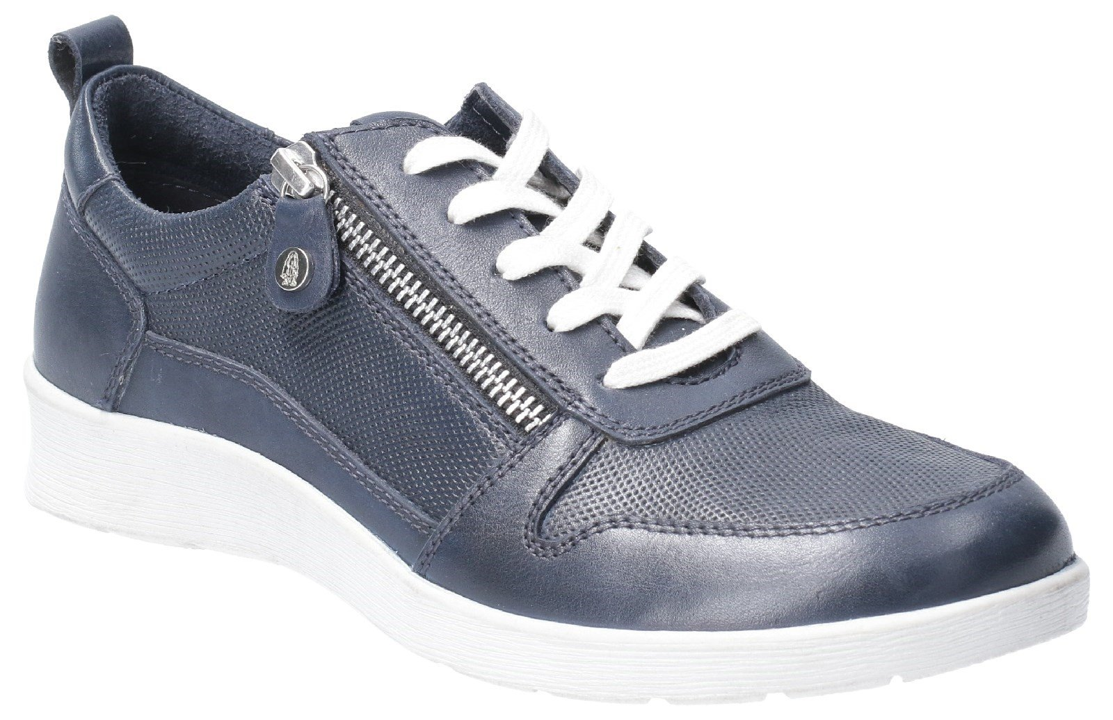 Hush Puppies Women's Roo Zip Up Lace Up Trainer Various Colours 29233 - Navy 3