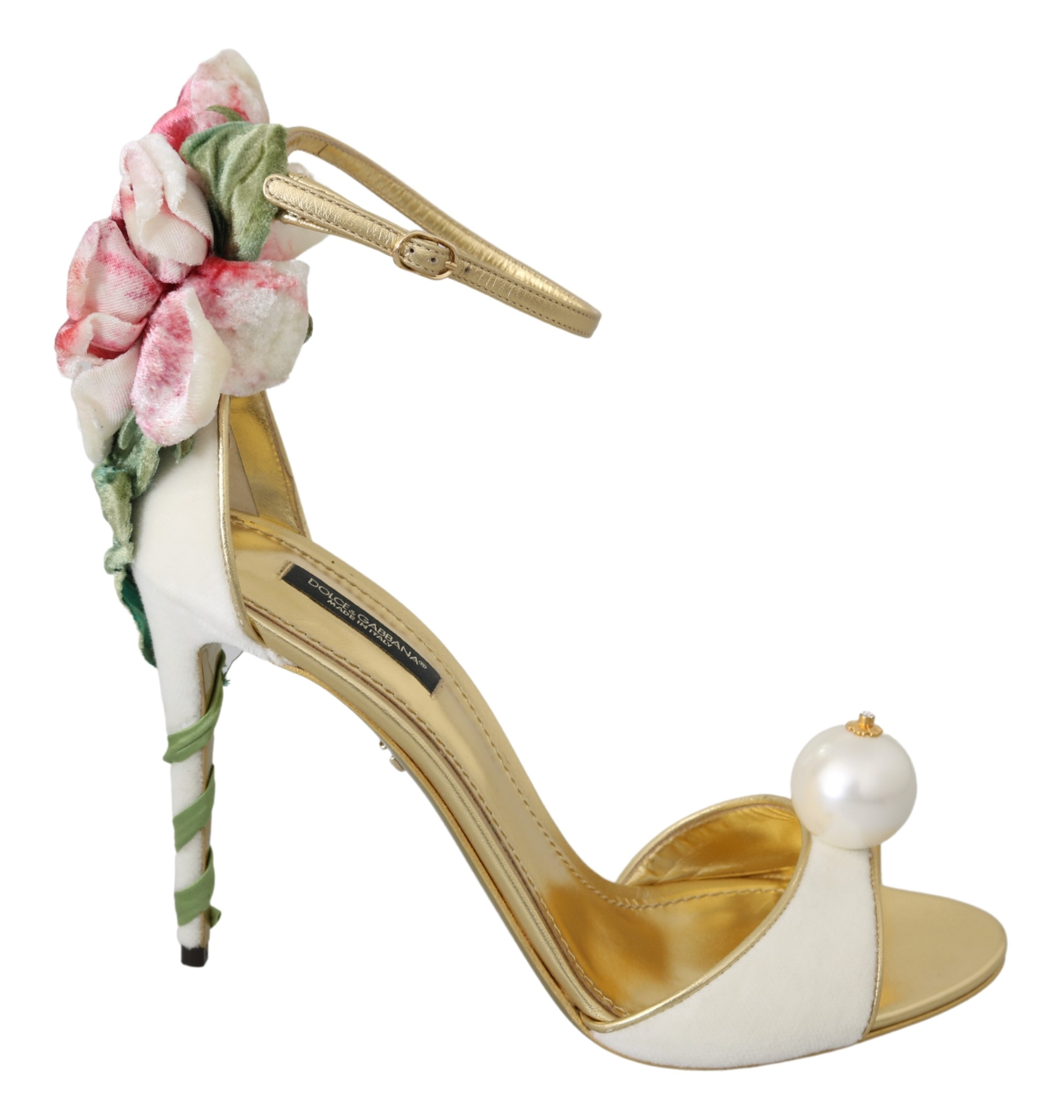 Dolce & Gabbana Women's Pearl Leather Sandal White LA7009 - EU39/US8.5