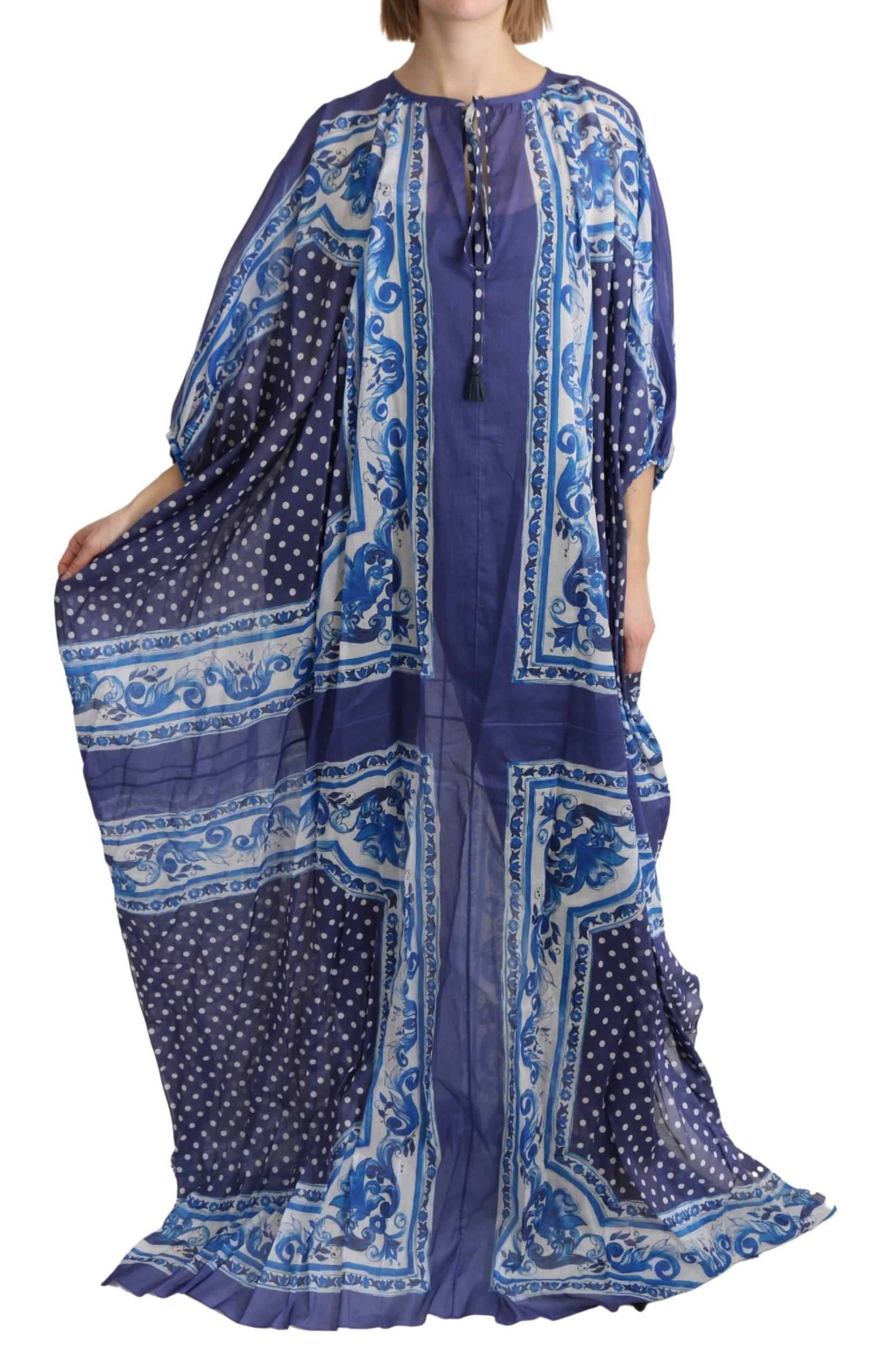 Dolce & Gabbana Women's Majolica Cape Cotton Dress Blue DR2602 - IT44 L