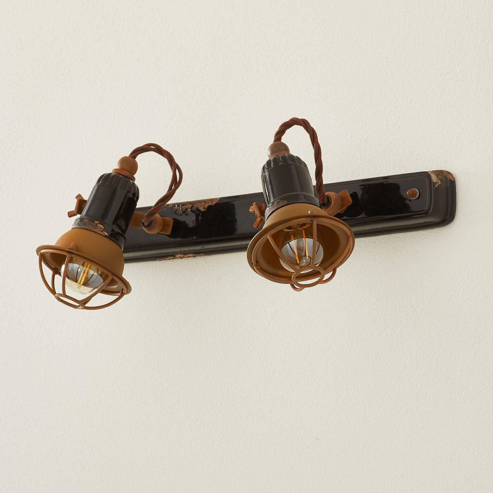 Vegglampe C1676/1 med kurv, 2 lyskilder, svart