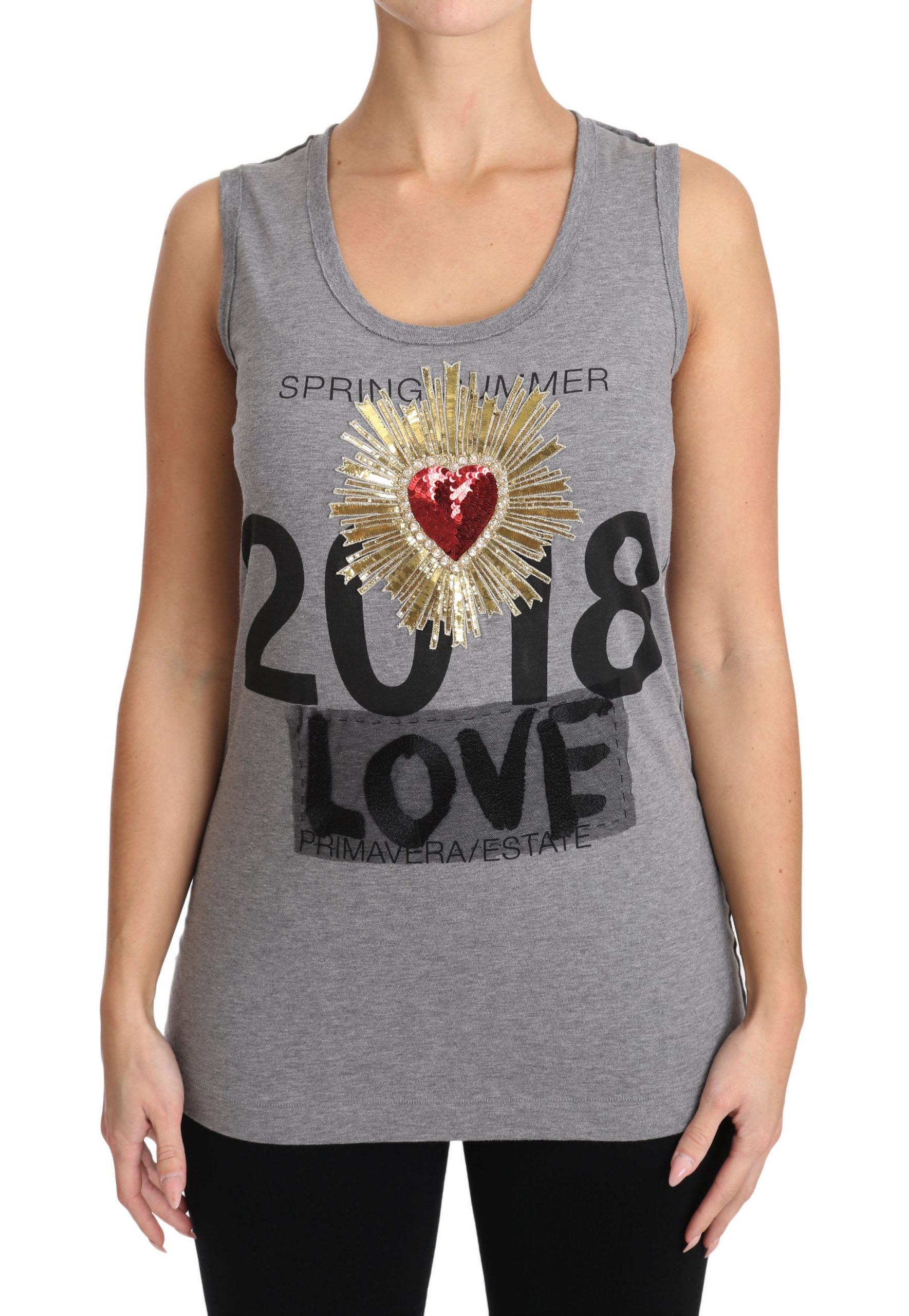 Dolce & Gabbana Women's Crystal Sequined Heart Tops Gray TSH2984 - IT38|XS