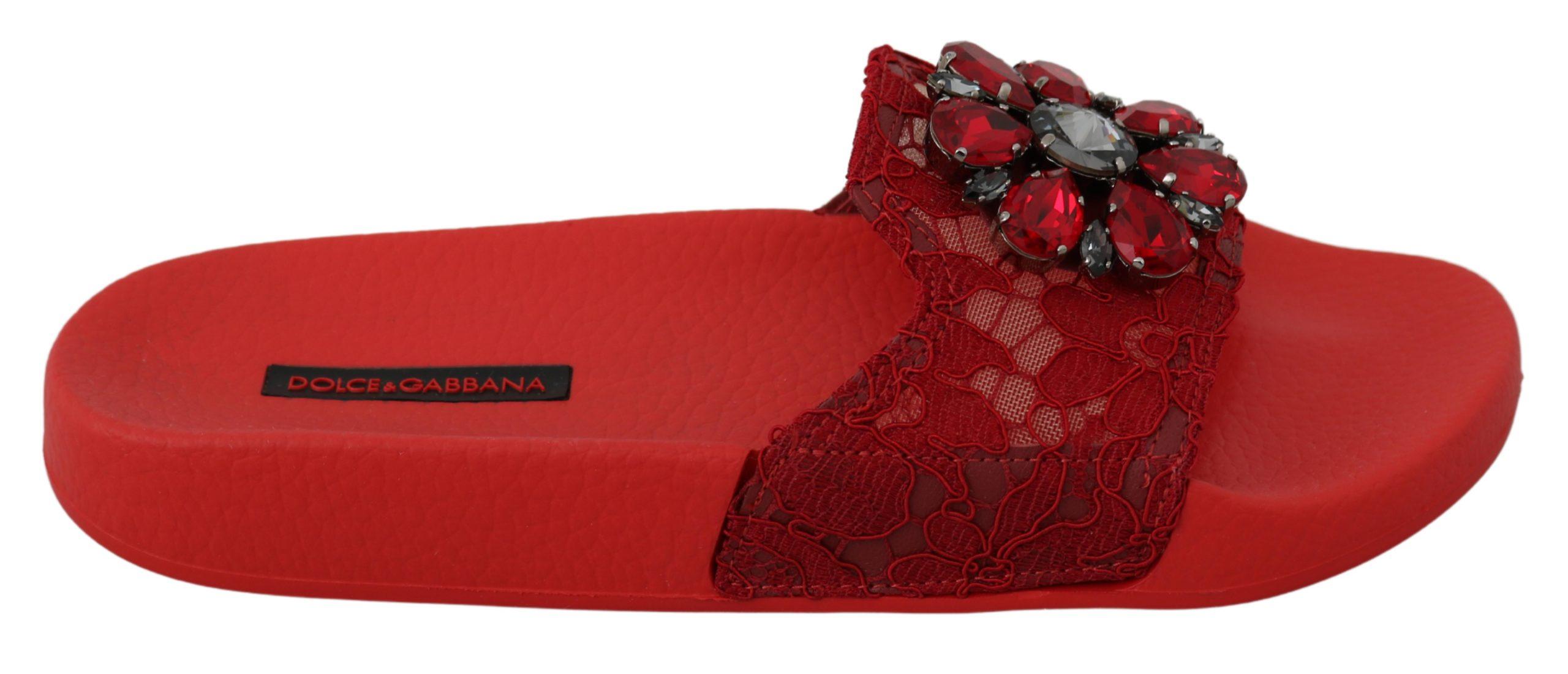 Dolce & Gabbana Women's Lace Crystal Slides Sandals Red LA6555 - EU35/US4.5