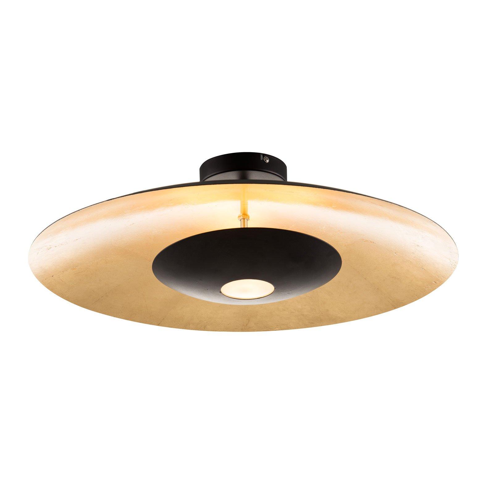 LED-taklampe Minas i svart gull, dimbar