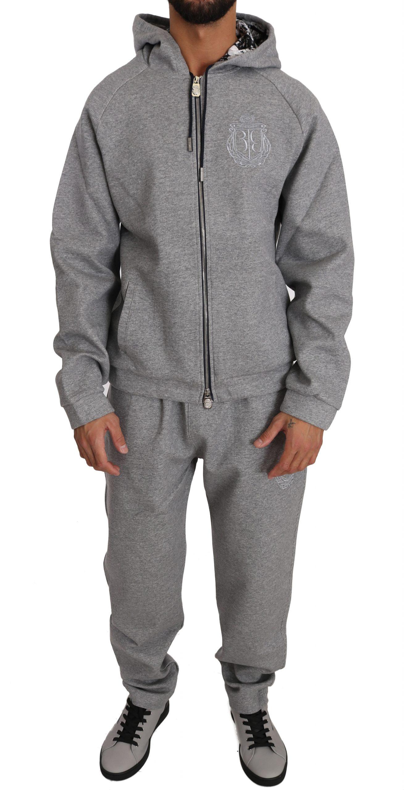 Billionaire Italian Couture Men's Hoodie Tracksuit Grey BIL1023 - L