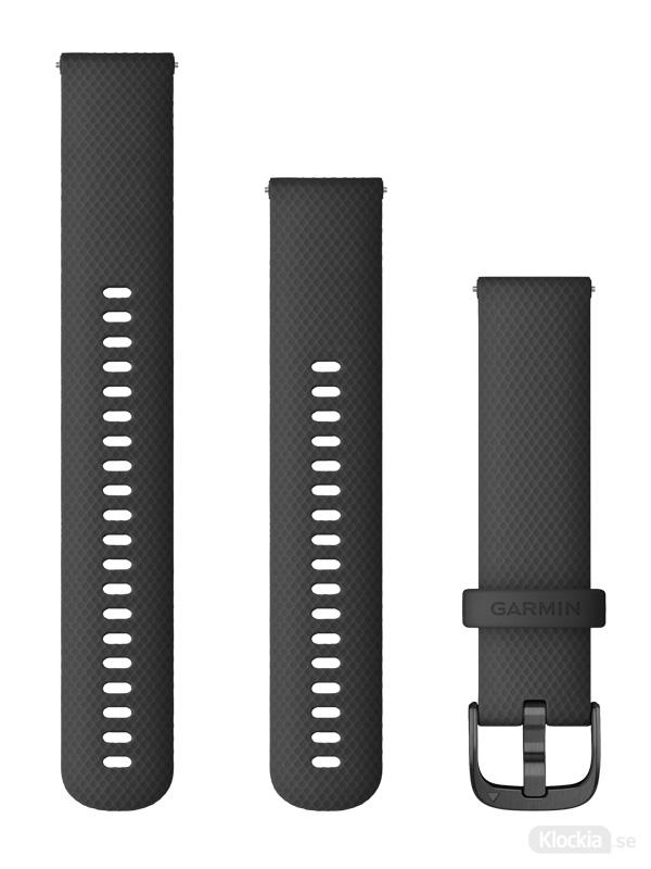 Garmin Armband med snäppspänne, Svart silikon med skiffergrå detaljer