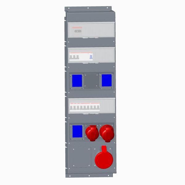 ABB 2CMA101810R1000 Pistorasiakeskus IEC/CEE-pistorasioille 1x463A, 1x432A, 1x416A, 3xSchuckouttag