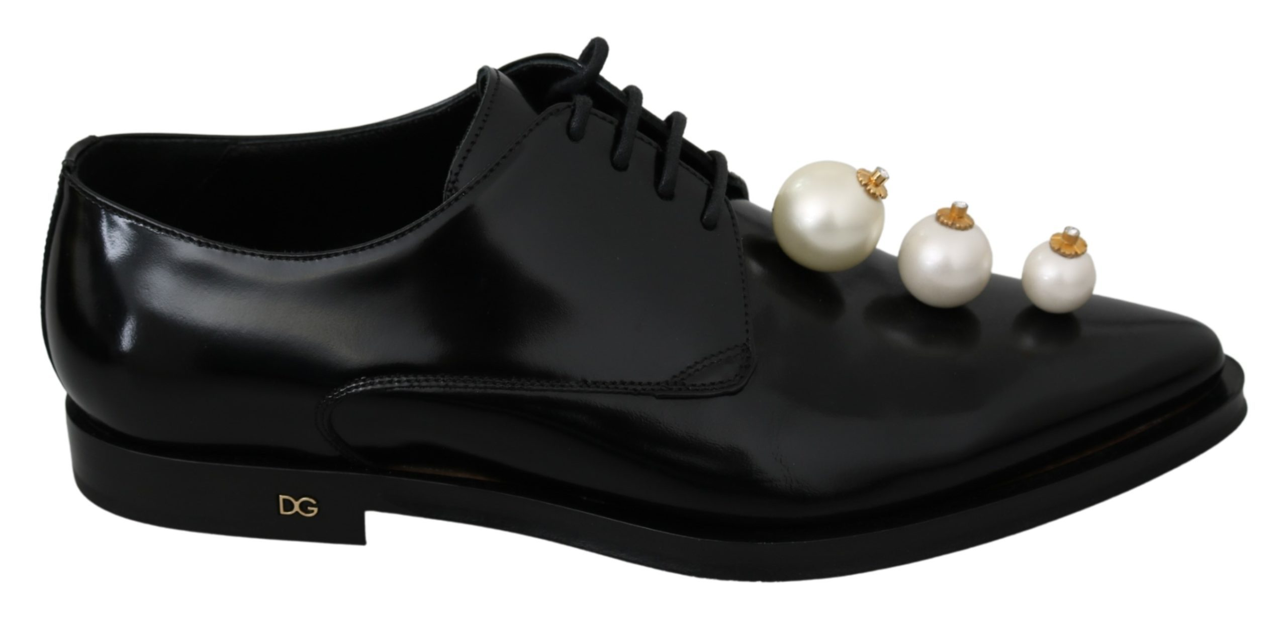 Dolce & Gabbana Women's Leather Pearl Studs Lace Up Formal Shoes Black LA6913 - EU39/US8.5