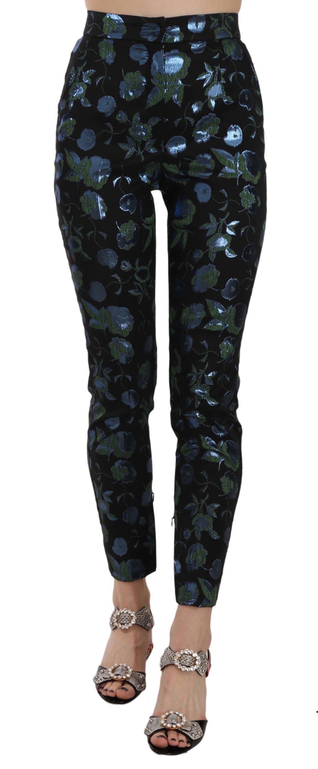 Dolce & Gabbana Women's Cropped Floral Jacquard Skinny Trouser Black PAN70044 - IT36|XXS