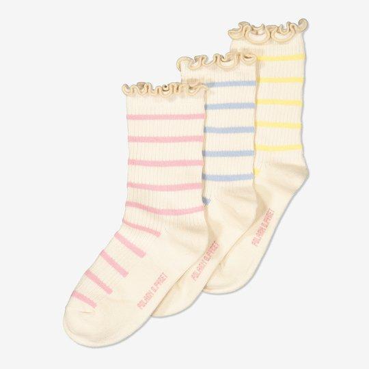 3-pakning sokker med tungekant lysrosa
