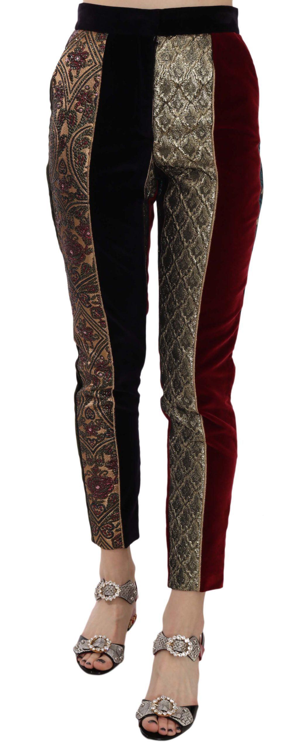 Dolce & Gabbana Women's Jacquard Cropped Tapered Trouser Multicolor PAN70040 - IT36|XXS