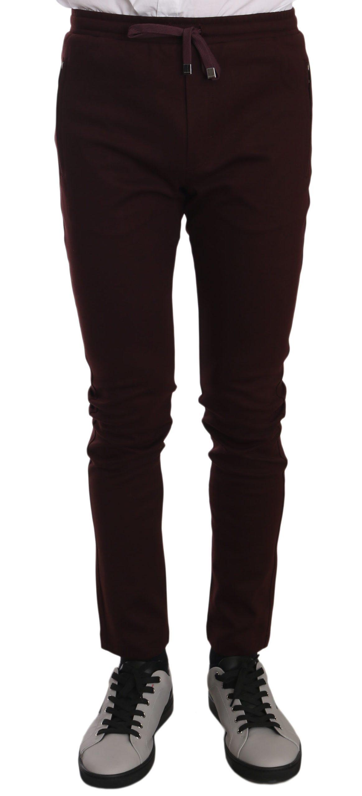 Dolce & Gabbana Men's Cotton Casual Training Trouser Bordeaux PAN61321 - IT46   S