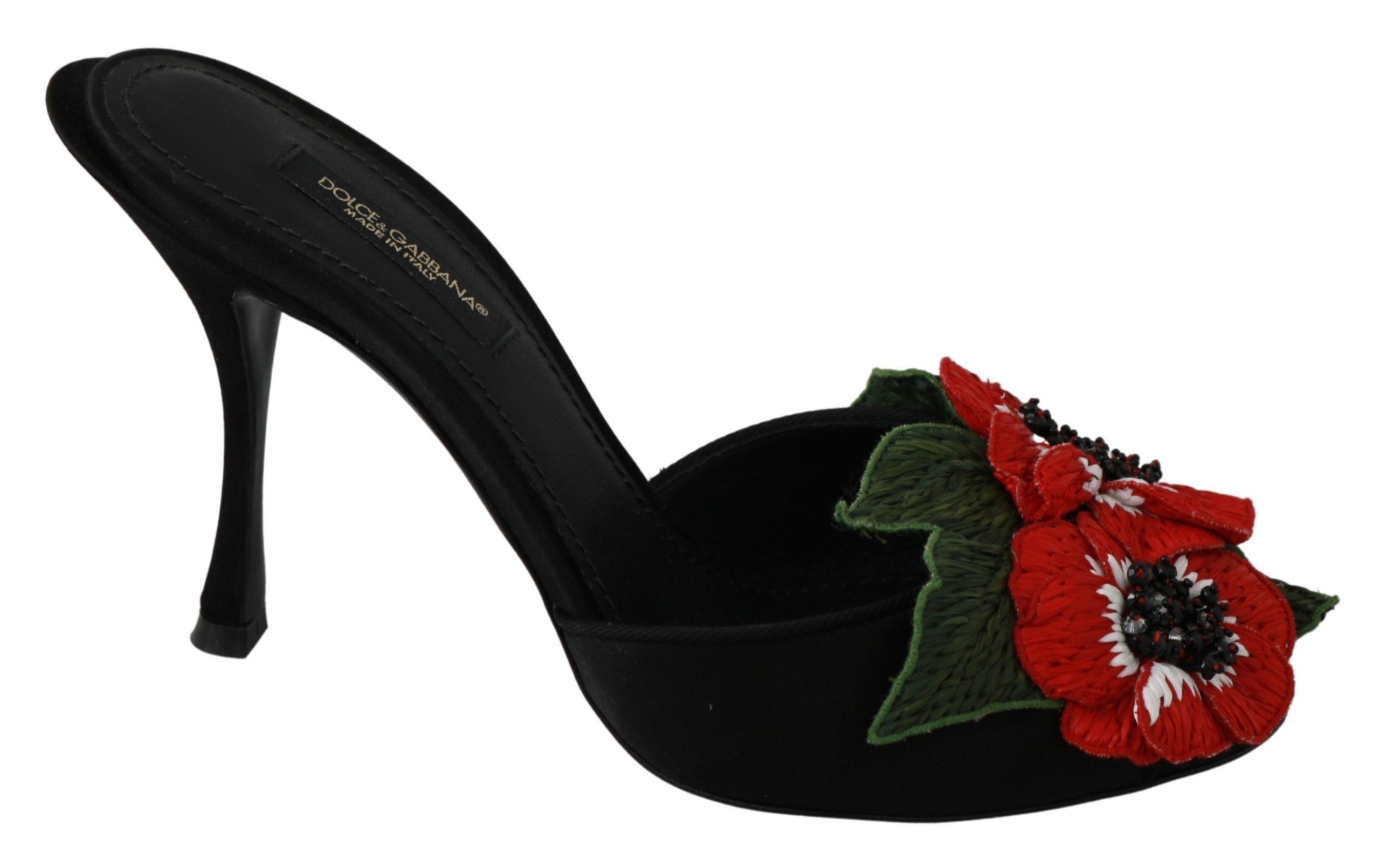 Black Silk Floral Heels Flip Flops Shoes - EU35/US4.5