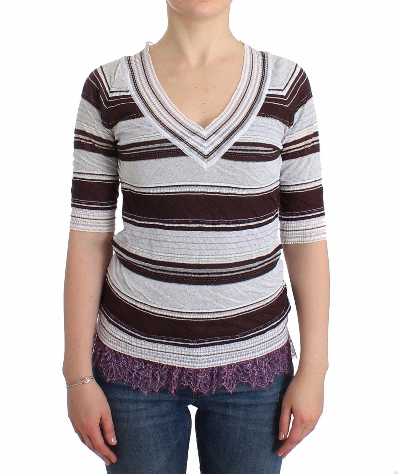 Ermanno Scervino Women's Striped Lace V-Neck Top Multicolour SIG11859 - IT42 | S
