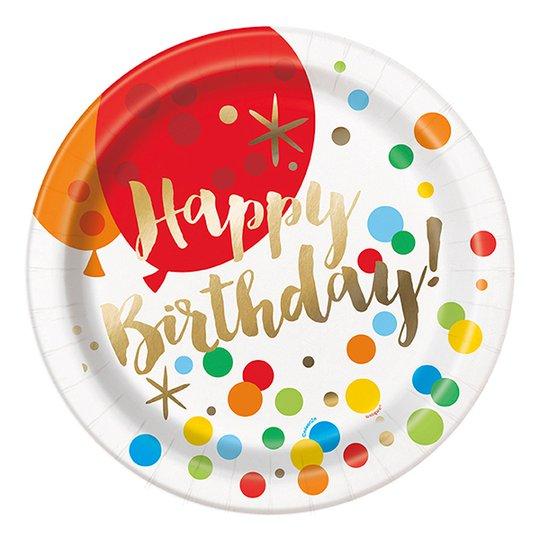 Papperstallrikar Guld Happy Birthday - 8-pack