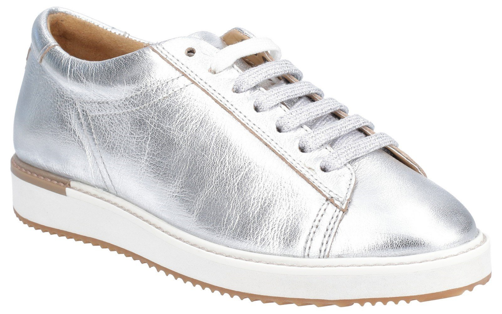 Hush Puppies Women's Sabine BouncePLUS Lace Up Trainer Various Colours 29235 - Silver Metallic Leather 3