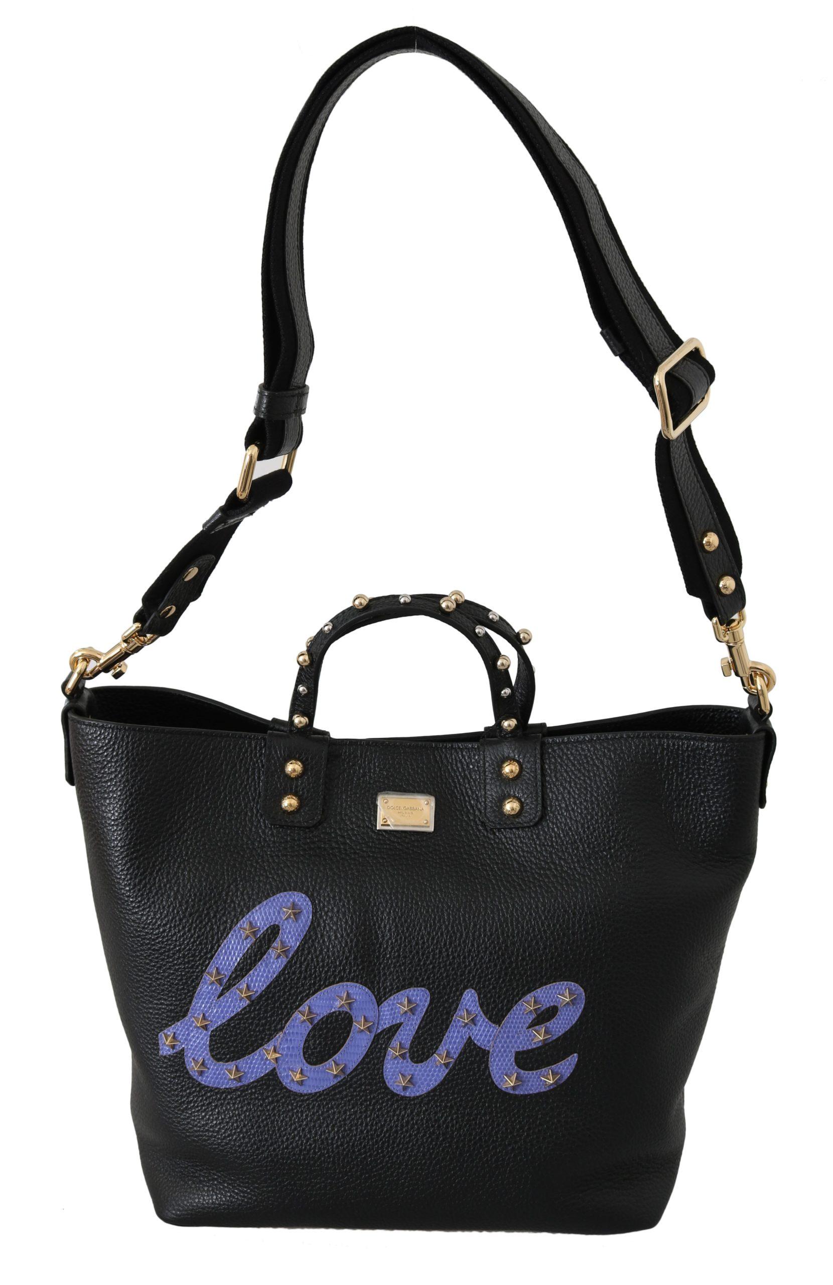 Black Leather Love BEATRICE Shoulder Tote HandBag