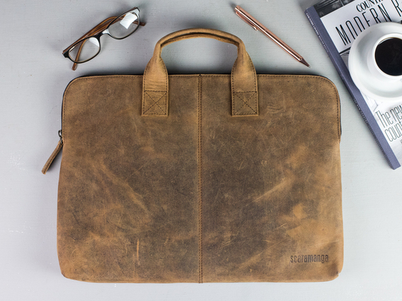 Leather Laptop Bag 13 Inch Brown