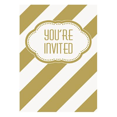 Inbjudningskort Guld Randiga - 8-pack