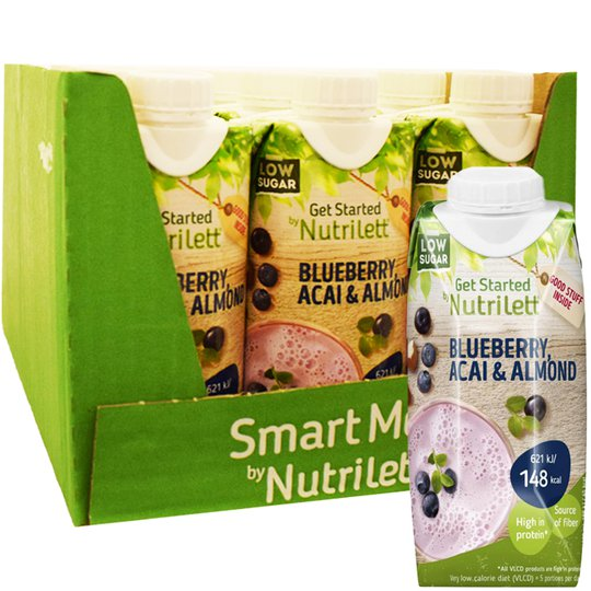 """Laatikollinen Ateriankorvikkeita """"Blueberry, Acai & Almond"""" 12 x 330ml - 26% alennus"""