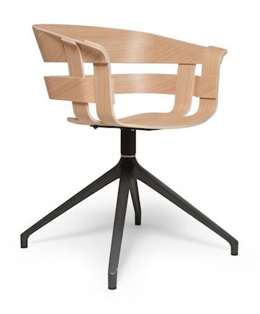 Wick stol - Ek/grå snurrbas