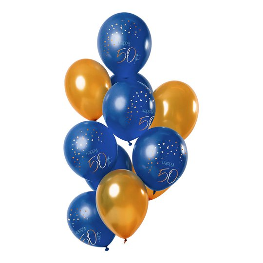 Latexballonger Happy 50th True Blue - 12-pack