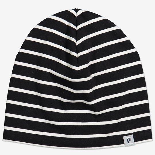 Stripet lue med fleecefôr svart