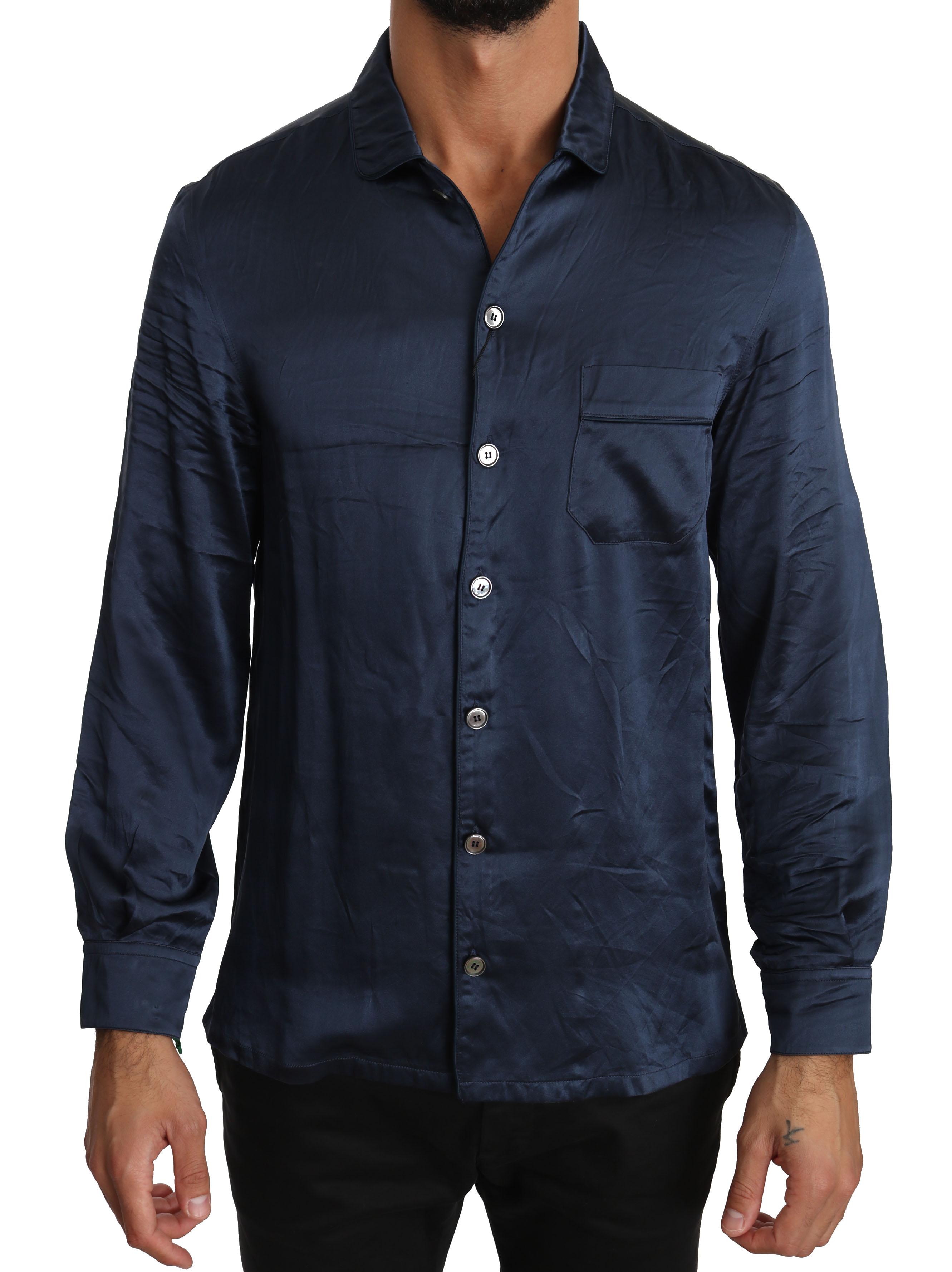 Dolce & Gabbana Men's Silk Casual Lounge Shirt Blue TSH2850 - IT38 | XS