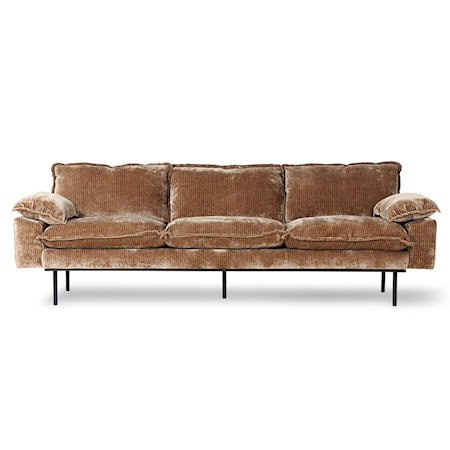 Retro Sofa 4-seter Velvet corduroy aged Gold